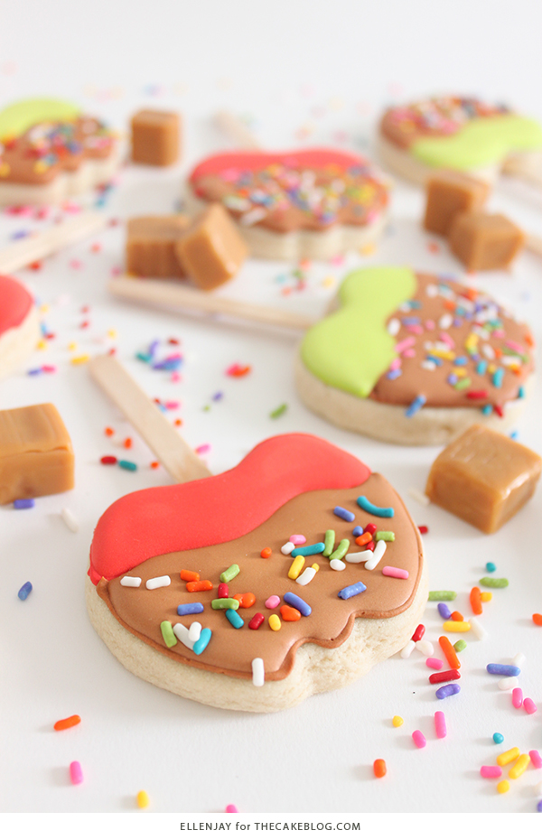 Caramel Apple Cookies - how to decorate caramel apple sugar cookies | by ellenJAY for TheCakeBlog.com