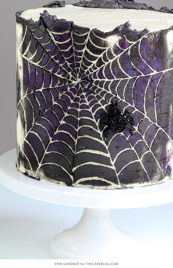 Spiderweb Cake - how to make an easy spiderweb cake with buttercream | by Erin Gardner for TheCakeBlog.com