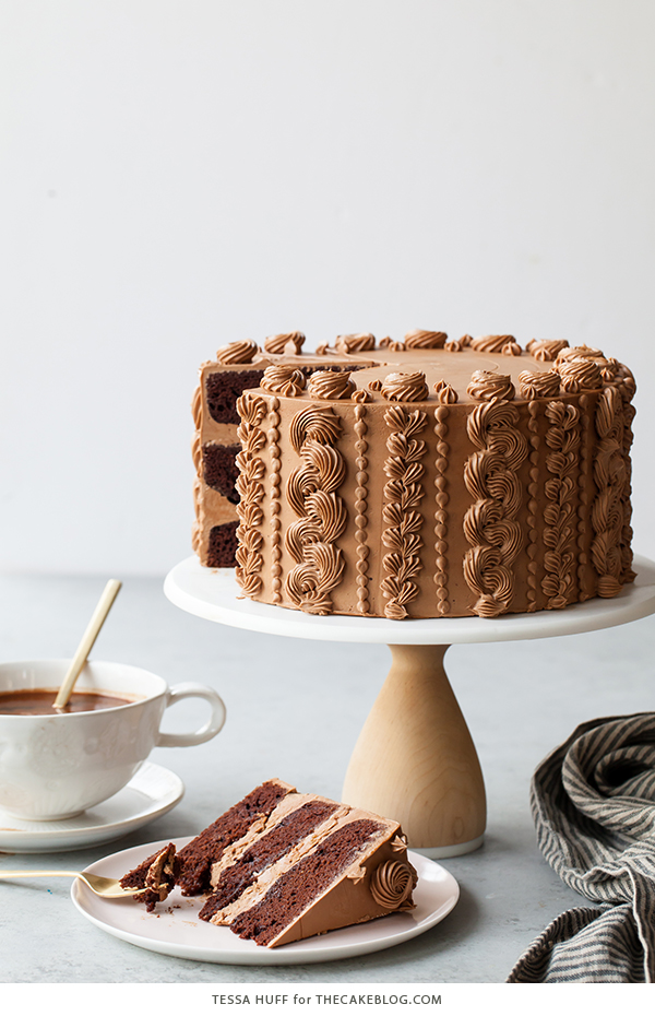 Chocolate Toffee Crunch Cake - fudgy chocolate cake lightly spiced with cinnamon paired with crunchy toffee bits and silky smooth chocolate buttercream frosting | by Tessa Huff for TheCakeBlog.com