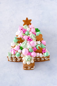 Cream Tart Tree Cake - gingerbread cookie with cream cheese frosting and festive holiday toppings | by Carrie Sellman for TheCakeBlog.com