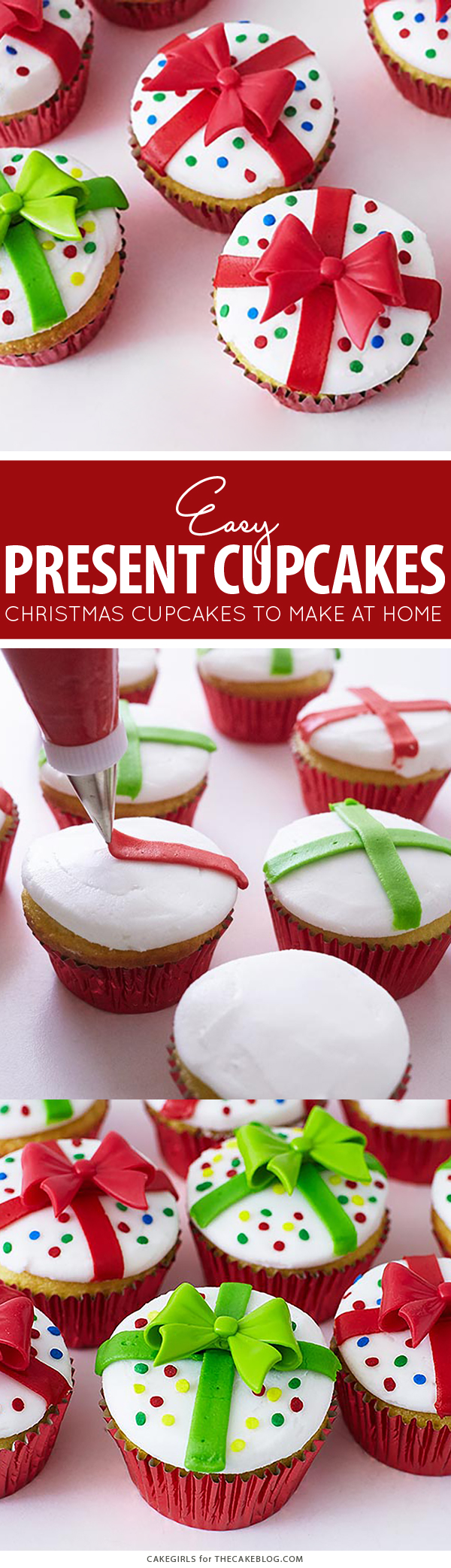 Christmas Present Cupcakes - how to decorate cupcakes to look like a gift box. A quick and easy holiday dessert | by Cakegirls for TheCakeBlog.com