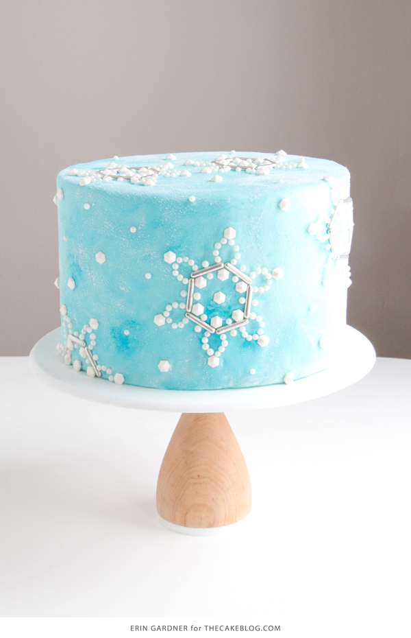 Sueded Buttercream Cake with Sprinkle Snowflakes | by Erin Gardner for TheCakeBlog.com #cake #winter #christmas #christmasdessert