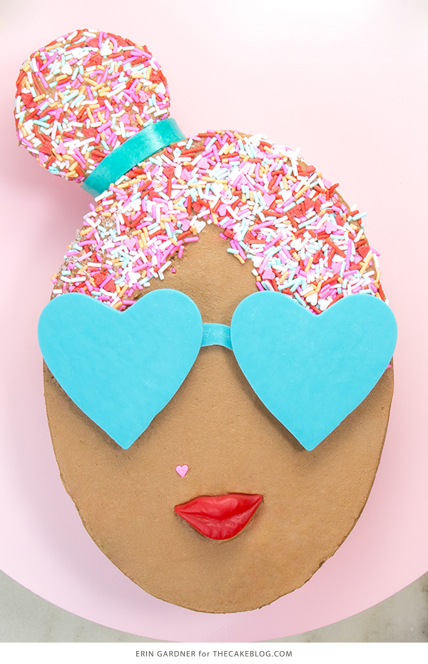 Sprinkle Girl Cake - how to make cute girly face cakes with sprinkles for the hair and chocolate heart sunglasses | by Erin Gardner for TheCakeBlog.com