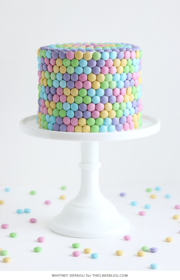Pastel Rainbow M&M Cake | by Whitney DePaoli for TheCakeBlog.com