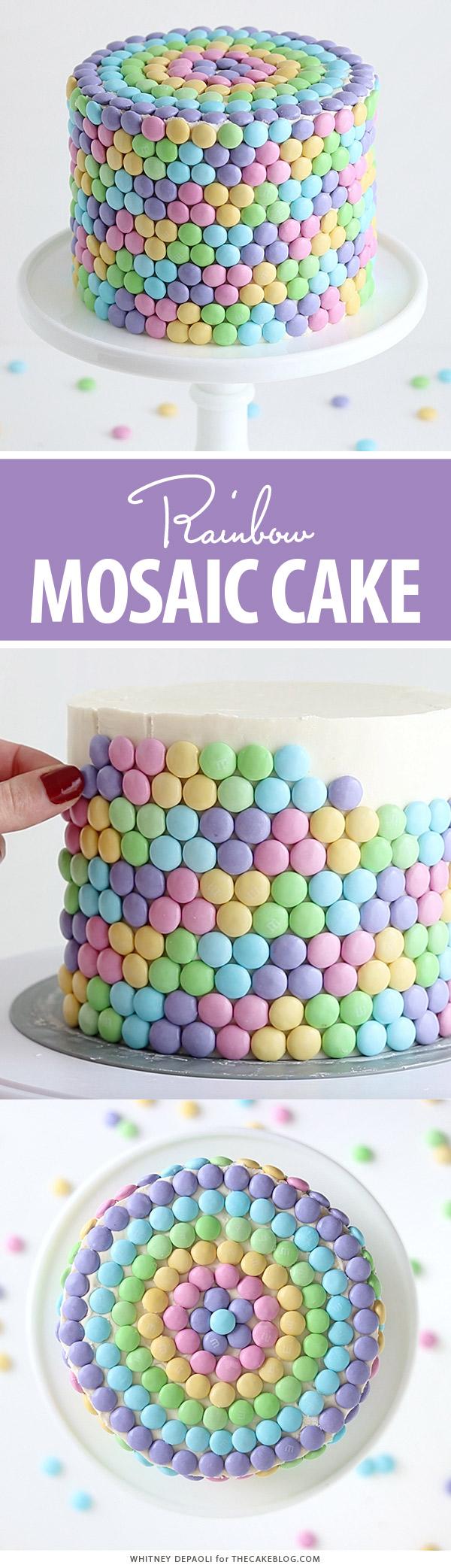 Pastel Rainbow M&M Cake   by Whitney DePaoli for TheCakeBlog.com