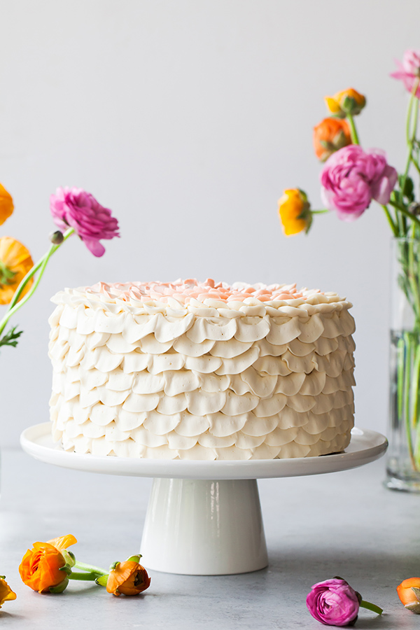 Orange Salted Honey Cake - orange cake with a salted honey custard and a piped petal honey buttercream | by Tessa Huff for TheCakeBlog.com