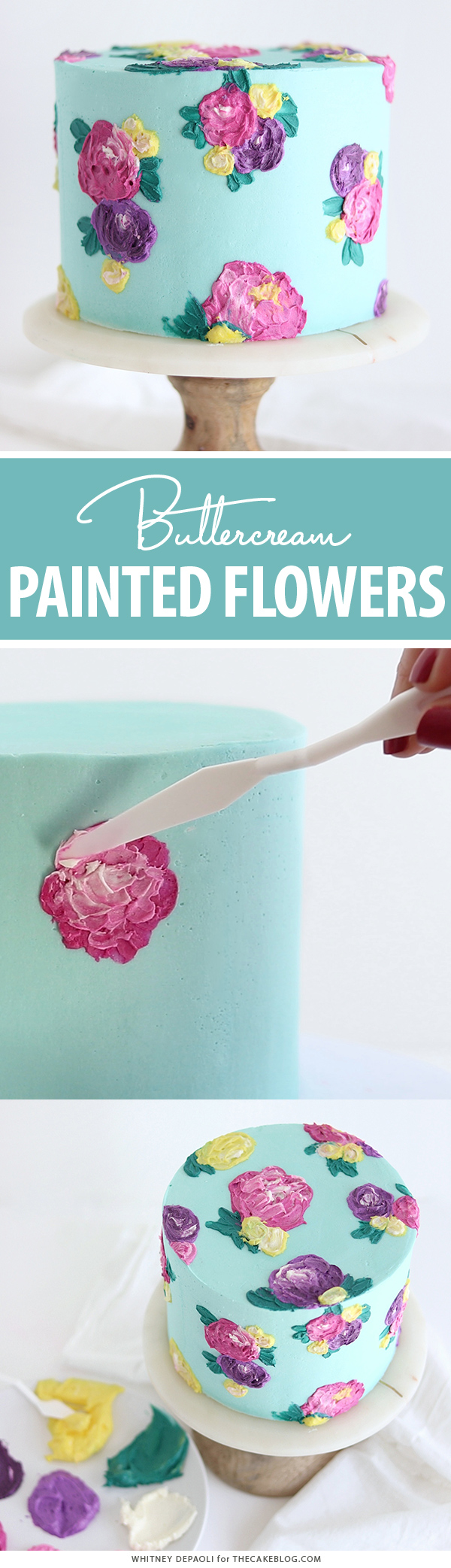 Painted Buttercream Flower Cake | by Whitney DePaoli for TheCakeBlog.com
