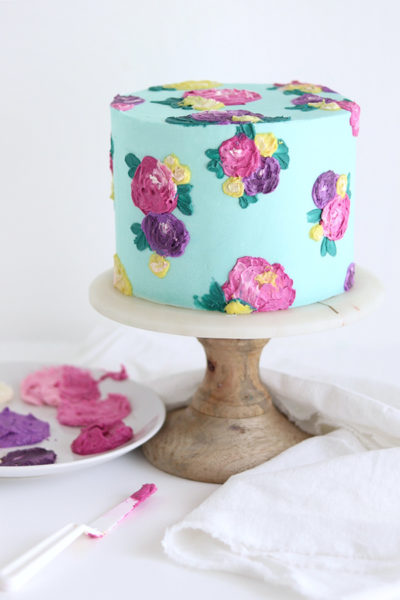 Painted Buttercream Flower Cake