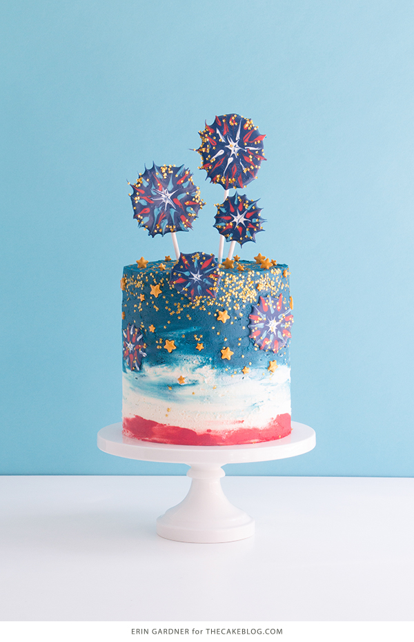 Chocolate Fireworks Cake - how to make red, white and blue fireworks out of chocolate | by Erin Gardner for TheCakeBlog.com