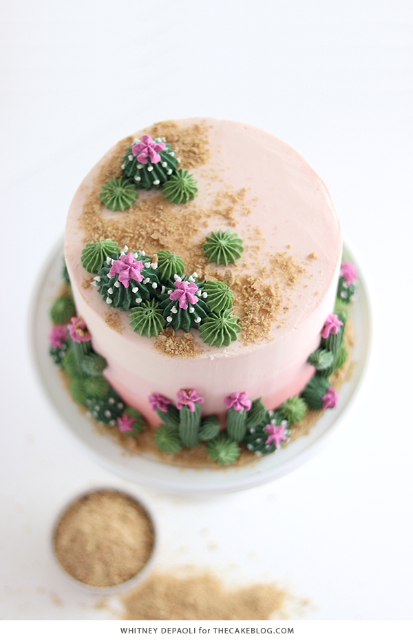 Cactus Cake - how to make a cactus themed cake with ombrè buttercream, edible sand and piped buttercream cacti | by Whitney DePaoli for TheCakeBlog.com