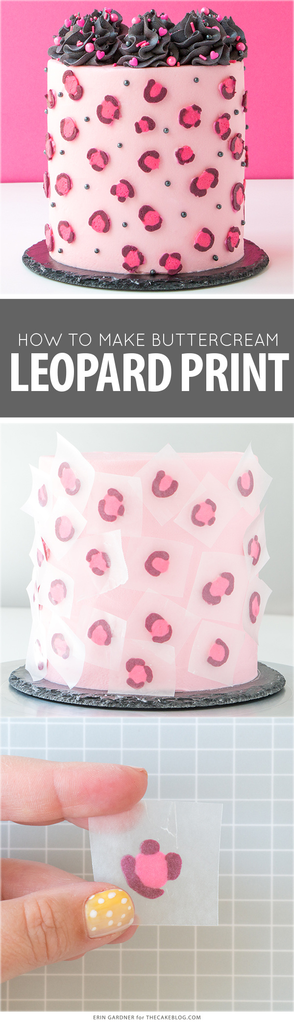 Leopard Print Buttercream Cake - how to make a pink leopard print cake using buttercream frosting | by Erin Gardner for TheCakeBlog.com