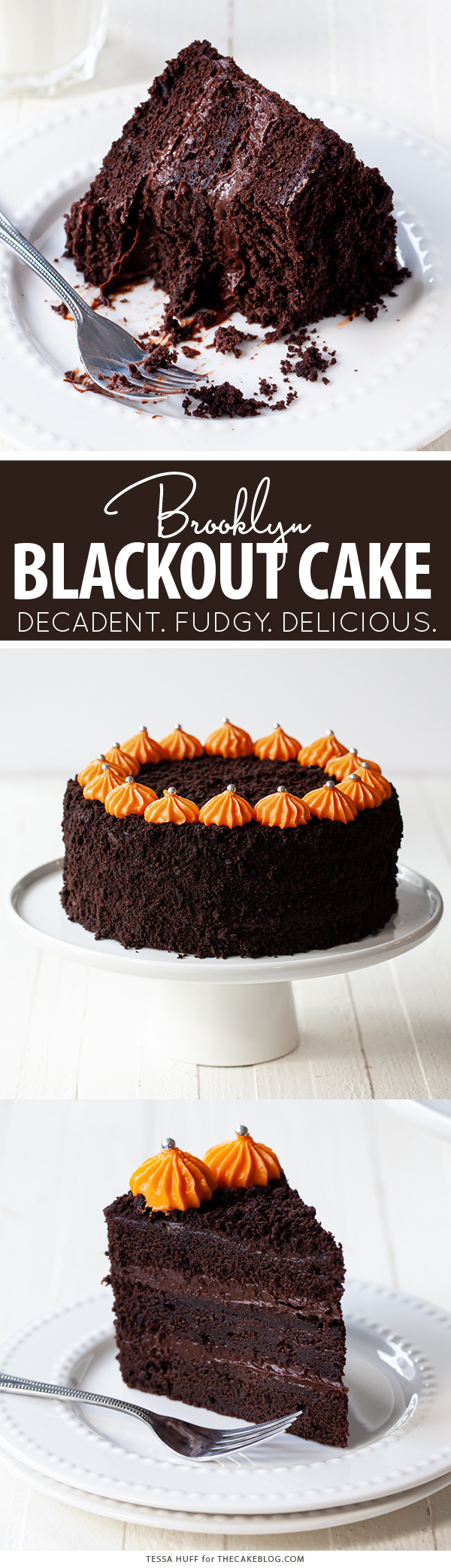 Brooklyn Blackout Cake - a decadent chocolate cake with fudgy chocolate pudding frosting | by Tessa Huff for TheCakeBlog.com