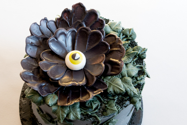 Chocolate Eyeball Flower - how to make a creepy black chocolate flower with an edible eyeball center | by Erin Gardner for TheCakeBlog.com