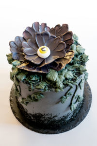 Chocolate Eyeball Flower - how to make a creepy black chocolate flower with a chocolate eyeball center | by Erin Gardner for TheCakeBlog.com
