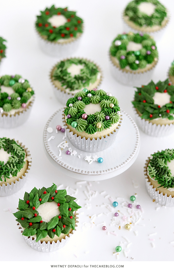 Christmas Wreath Cupcakes | by Whitney DePaoli for TheCakeBlog.com