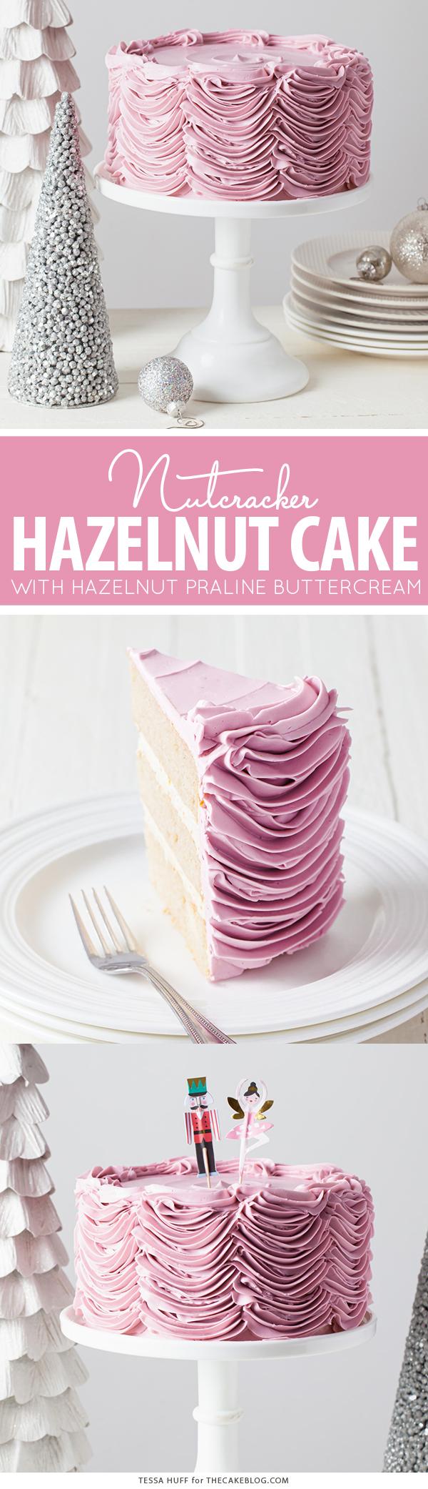 Hazelnut Nutcracker Cake - a brown sugar nutmeg cake with hazelnut praline buttercream | by Tessa Huff for TheCakeBlog.com