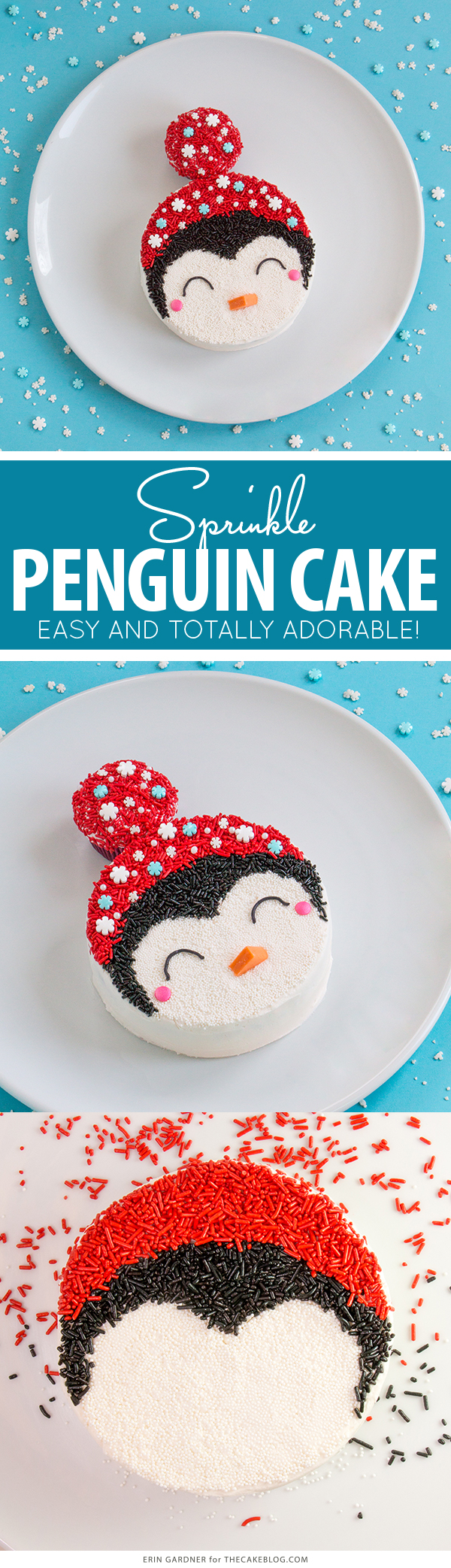 Penguin Cake - a sprinkle coated penguin cake too adorable for words | by Erin Gardner for TheCakeBlog.com
