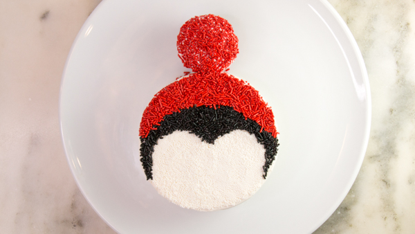 Penguin Cake - a sprinkle coated penguin cake too adorable for words   by Erin Gardner for TheCakeBlog.com