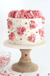 Piped Hearts Valentine's Cake | by Whitney DePaoli for TheCakeBlog.com